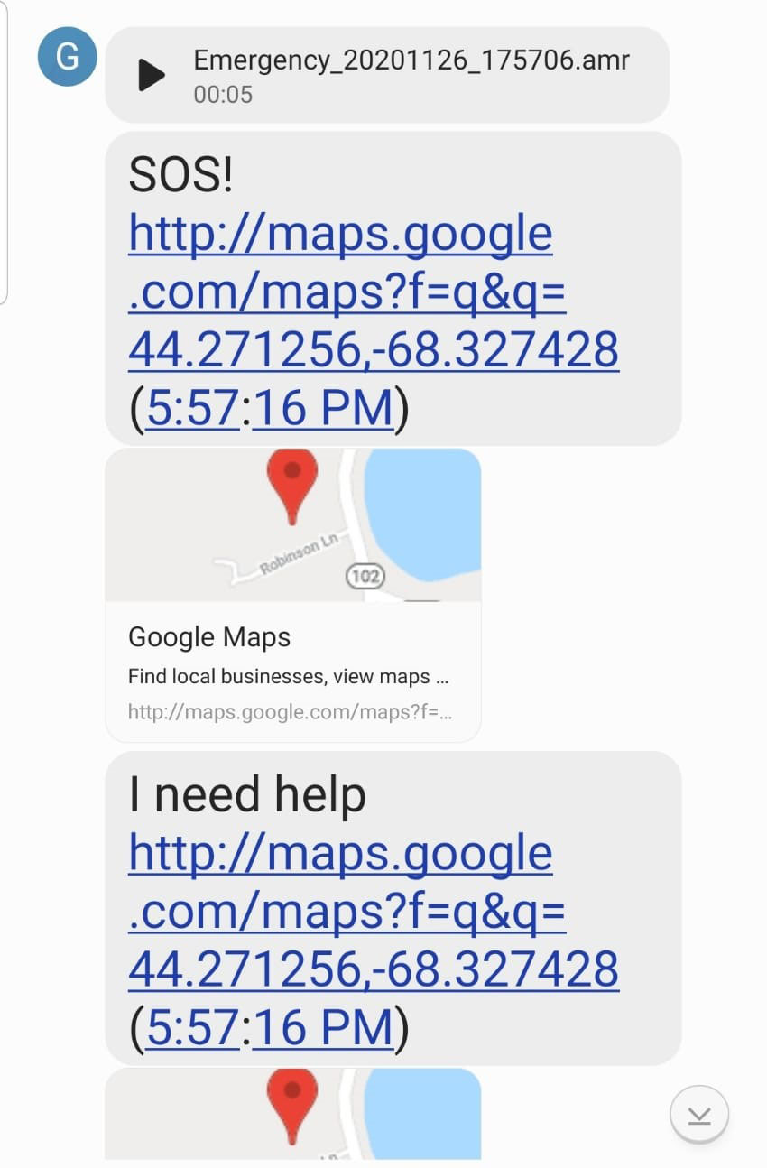 screenshot of sos message with google maps links to emergency contacts