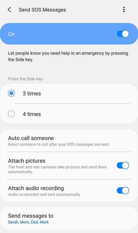 screenshot of sos emergency setting from a mobile phone