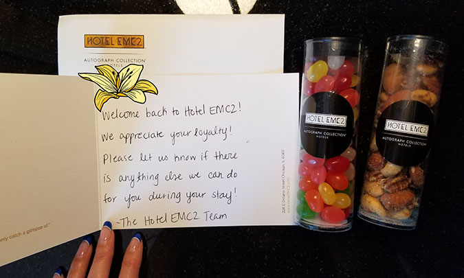 A welcome note from the EMC2 hotel and a couple of tubes of jelly beans and nuts.