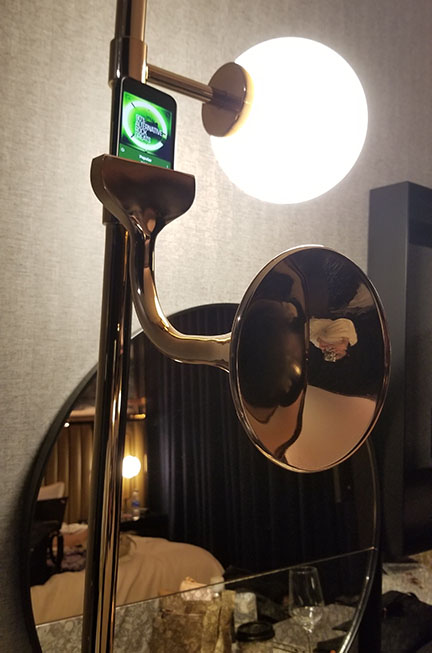 a gold megaphone used as a speaker
