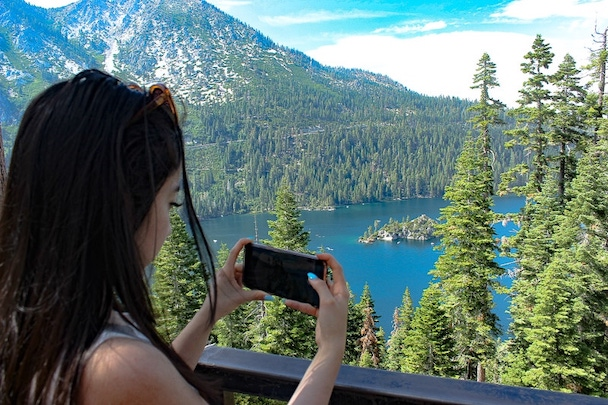 Geeves snapping a photo of Emerald Bay