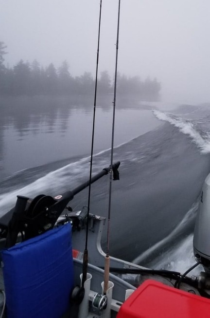 Waves as the boat is driven over the lake