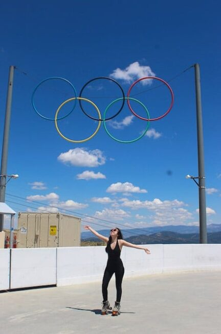 geeves rollerskating under the olympic rings in lake tahoe