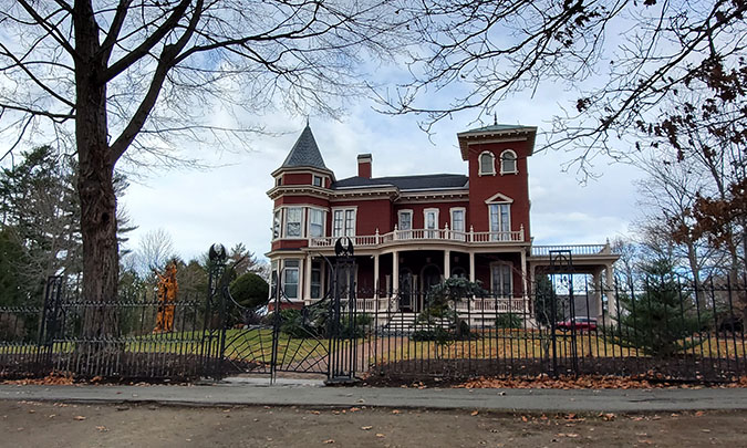 Outside of Stephen King's Victorian Mansion in Bangor, Maine