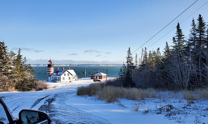 snow road planked by evergreens leading to West Quoddy Lighthouse