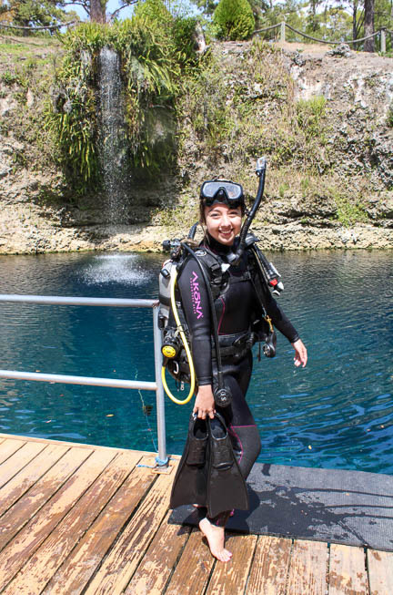 Geeves in scuba gear and the blue grotto florida