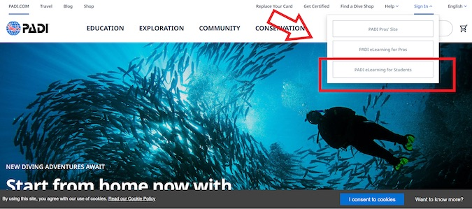 padi site eLearning for student