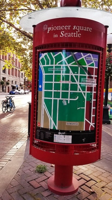 Map of Pioneer Square in Seattle