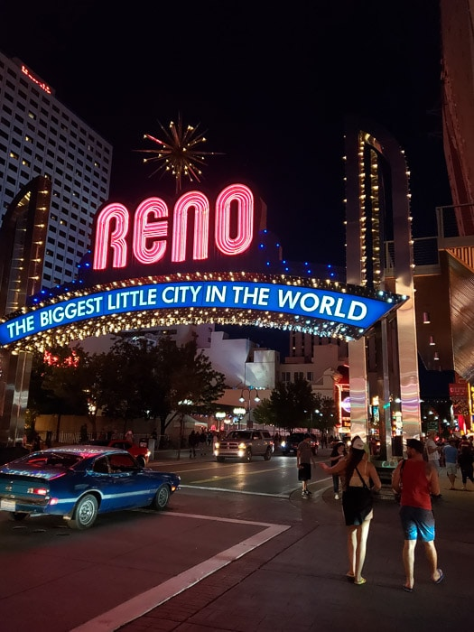 Light up sign of reno the biggest little city in the world