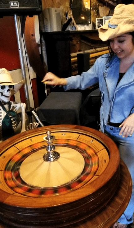 geeves playing roulette with a skeleton