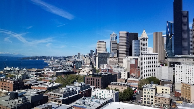 view of downtown Seattle from hotel-room embassy suites seattle
