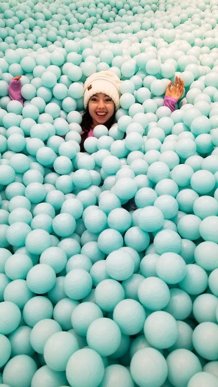 geeves in a mint green ball pit