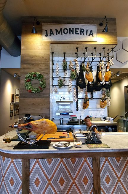 jamoneria section at Curate restaurant