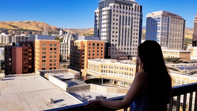 geeves looking out of the view of downtown salt lake city