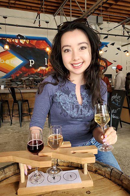 geeves enjoying a flight of wine