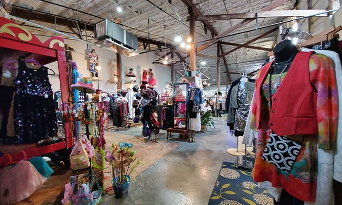 inside of sugar britches, a variety of unique thrift clothing