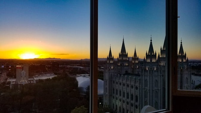 Sunset at Temple square from the rooftop of the Garden Restaurant